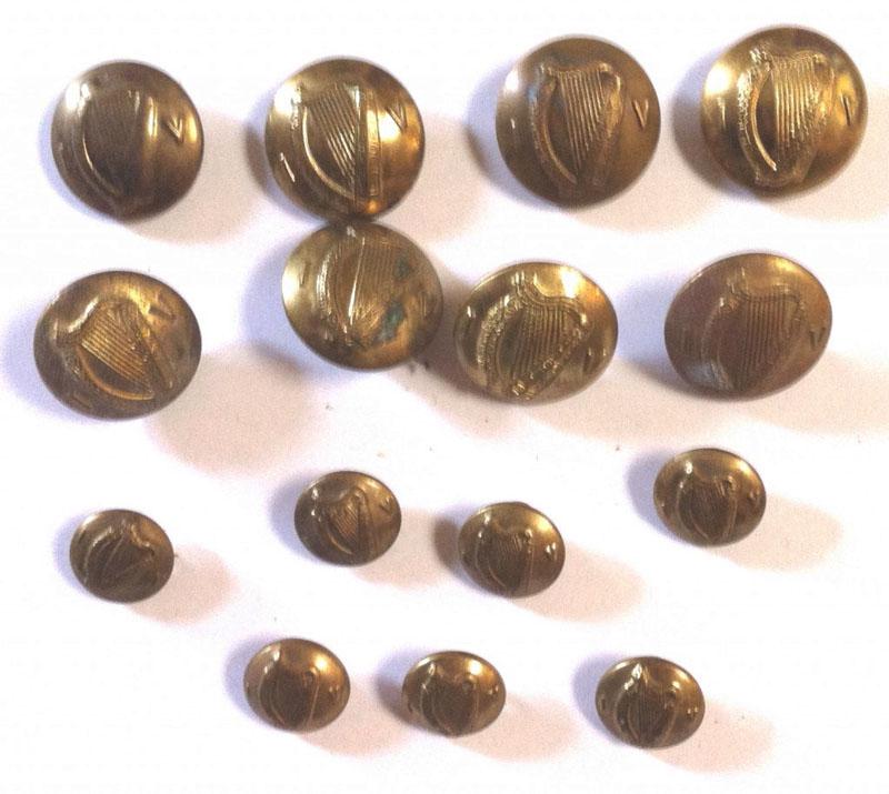 15 Irish Army brass buttons