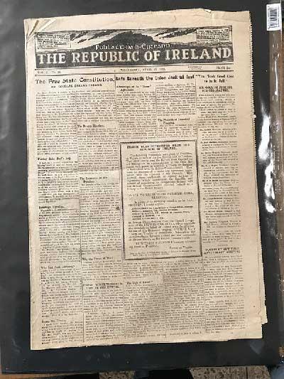 Republic of Ireland newspaper April 1922