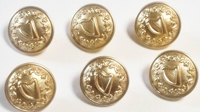 Irish harp and shamrock buttons
