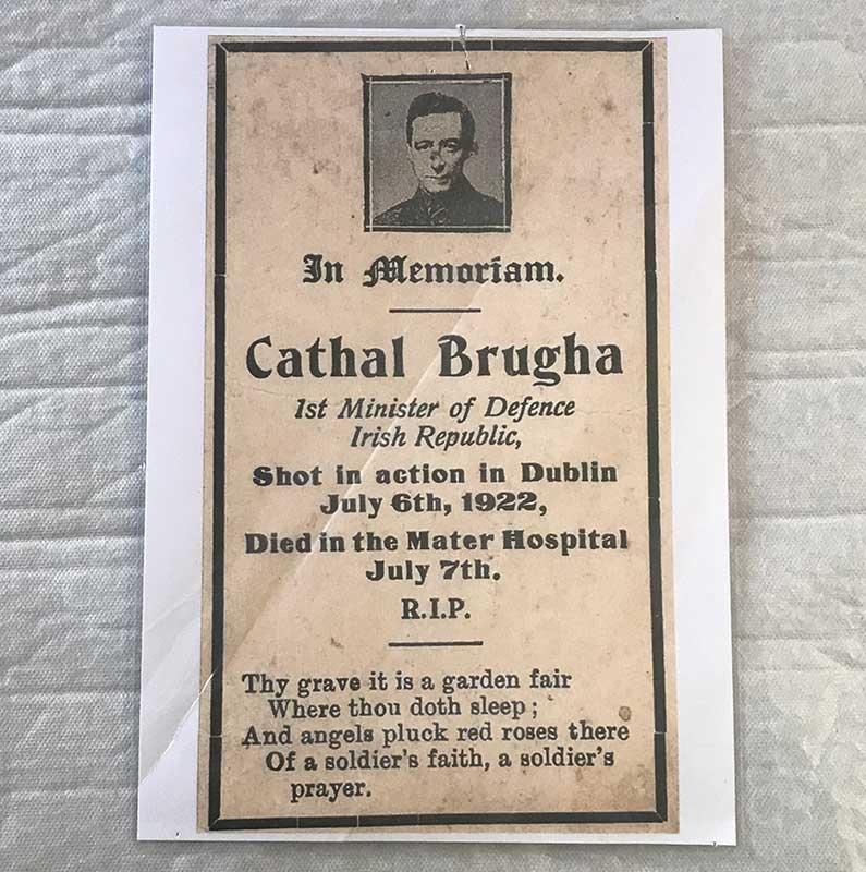 Cathal Brugha memorial card